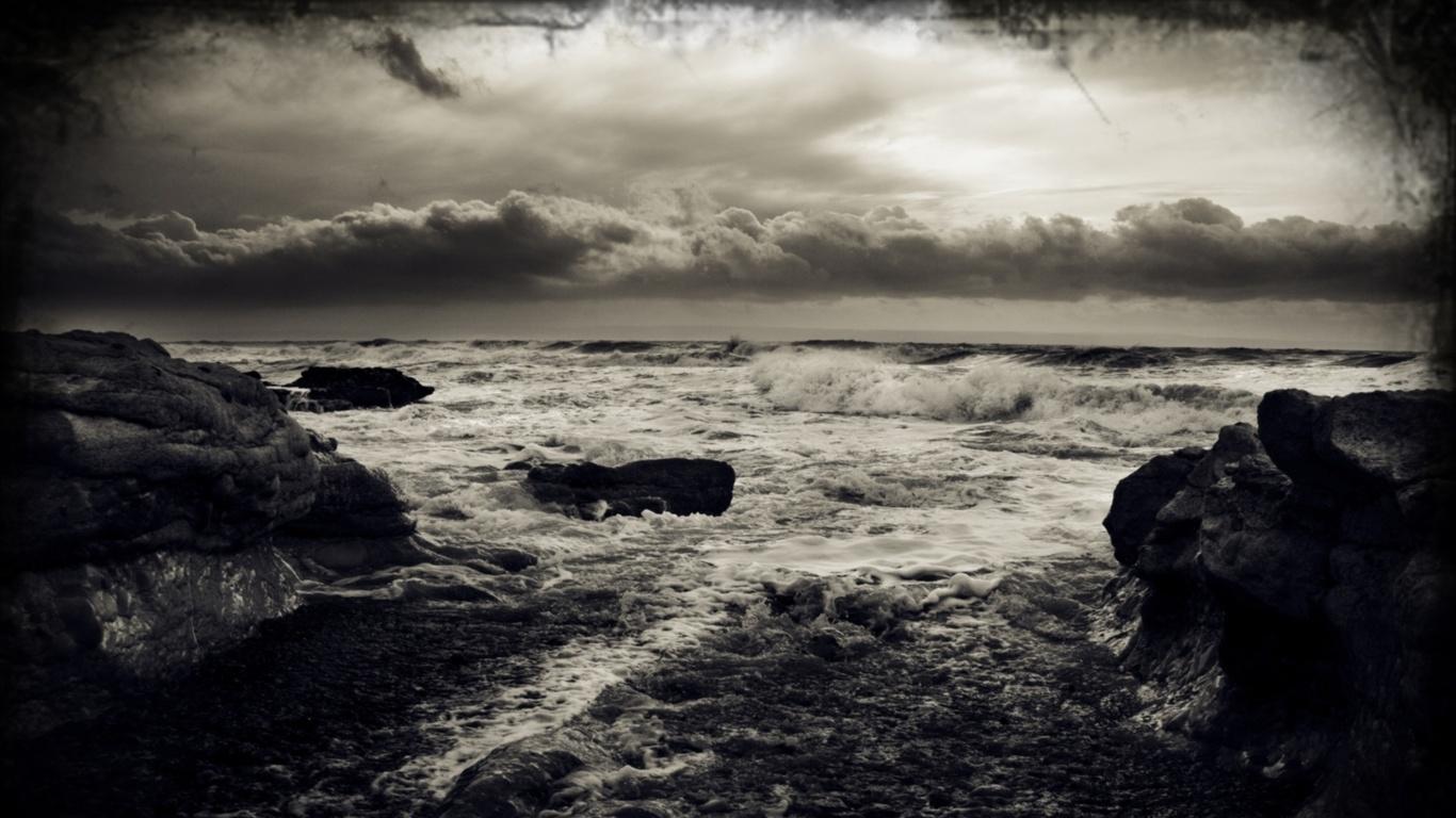 Hd duvar kağıtları fırtına bulutlar siyah beyaz manzara deniz