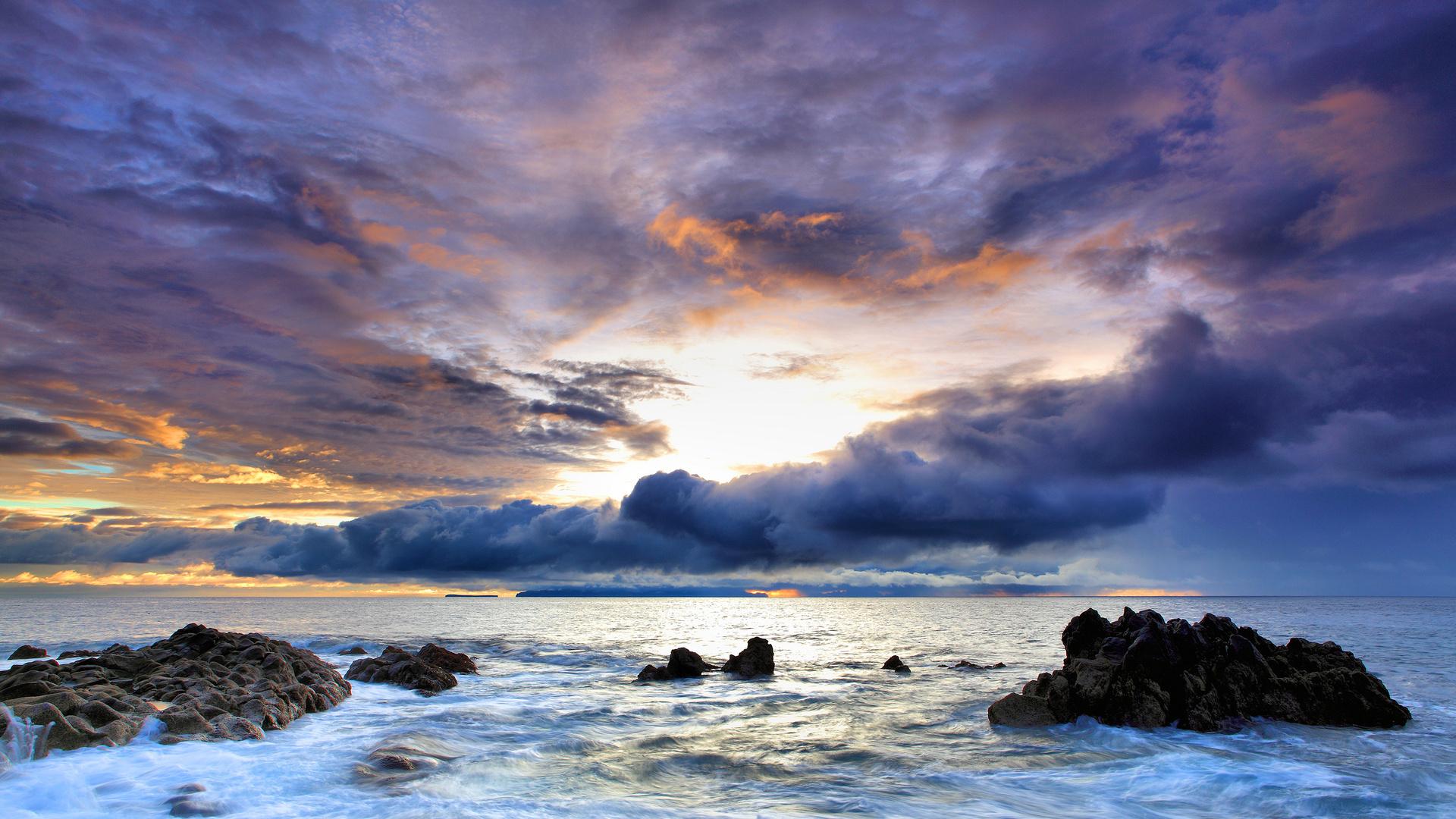 Sfondi mare rocce nuvole tramonto natura foto 1920x1080 natura